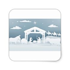 Nativity Christmas Scene Paper Art Style Square Sticker - paper gifts presents gift idea customize