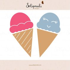 Ice Cream Cones  SVG and DXF Cut Files  for by SolipandiDesigns