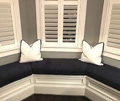 Custom bay window cushions featuring Para' Home Bermuda Navy fabric. Bay Window Benches, Window Seat Cushions, Bay Window Seating, Window Seats, Kitchen Nook Bench, Window Seat Kitchen, Front Rooms, Bay Windows, Large Windows