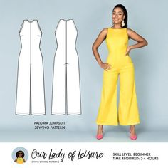 Palazzo Jumpsuit for Beginner Sewing Paloma // Wide Leg Jumpsuit Pattern. Palazzo Jumpsuit for Dress Sewing Patterns, Sewing Patterns Free, Clothing Patterns, Paper Patterns, Pattern Sewing, Vogue Patterns, Vintage Patterns, Vintage Sewing, Plus Size Patterns
