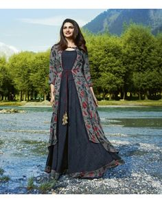 Buy Classy Gray Colored Partywear Printed Satin-Crepe Jacket Style Long Kurti at Rs. Get latest Partywear kurti for womens at Peachmode. Kurti Designs Party Wear, Kurta Designs, Short Kurti Designs, Blouse Designs, Indian Designer Outfits, Designer Dresses, Designer Kurtis, Kurti With Jacket, Jacket Style Kurti