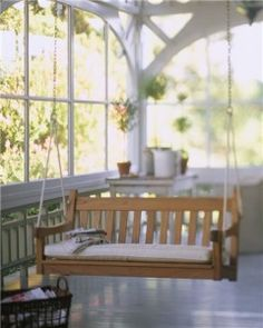 would love to have a front porch swing  (and a front porch) Outdoor Spaces, Outdoor Living, Outdoor Decor, Halls, Ceramic Floor Tiles, Tile Floor, Organizing Your Home, My Dream Home, Sweet Home
