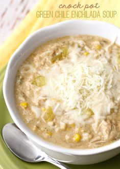 Crock Pot Green Chile Enchilada Soup - a new favorite soup recipe that is easy to make AND delicious! { lilluna.com