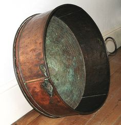 Items similar to Enormous Antique Copper Basin – Works as a log basket or planter or kitchen decor display – Georgian 18th Century – sieve on Etsy