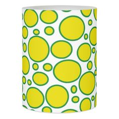 Yellow and Green Polka Dots Flameless Candle