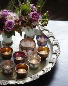 Image result for silver tray with tea lights on it