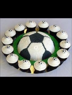 Soccer Cake with Cup Cakes!!!