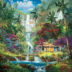 Surrender to Aloha by James Coleman - Hawaiian art Fantasy Kunst, Fantasy Art, Hawaiian Art, Tropical Art, Fantasy Landscape, Beauty Art, Illustrations, Traditional Art, Unique Art