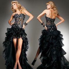 黑色超瘦前短后长婚纱晚宴宴会年会演出晚装礼服长款2015新款