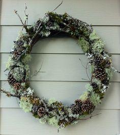Natural Forest Wreath For Rustic Woodland Decor by Artist Doreen Koch Allen of Edgewood Botanica