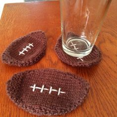 Knit these simple football coasters in Cotton-Ease, to hold your drink while watching the game.  Check out the pattern by KnitsbyWhit.