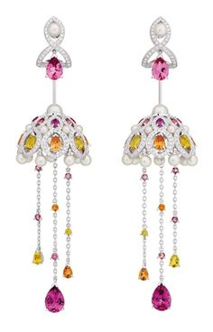Chanel Secrets D'Orient Coupoles Earrings in 18 karat white gold, diamonds, cultured pearls, rebellites, pink tourmalines, garnets and citrines