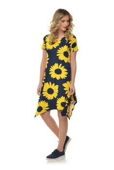 Rochie asimetrica cu imprimeu floral RN167 -  Ama Fashion Short Sleeve Dresses, Dresses With Sleeves, Floral, Fashion, Moda, Sleeve Dresses, Fashion Styles, Gowns With Sleeves, Flowers
