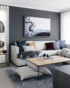 37 brilliant solution small apartment living room decor ideas and remodel 8 Living Room Grey, Home Living Room, Living Room Decor, Feature Wall Living Room, Room Interior, Interior Design Living Room, Living Room Designs, Interior Shop, Interior Livingroom