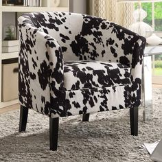 Featuring a stylish faux cow print, this Linon club chair lends sophistication and style. Wayfair Living Room Chairs, Living Room Decor, Bedroom Decor, Dining Room, Nursing Chair Uk, Cow Print Chair, Cowhide Furniture, Antique Furniture, Cow Nursery
