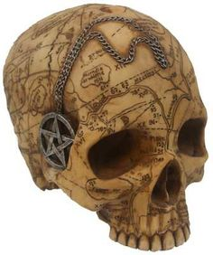 """A woderfully detailed skull coverd with an acurate map of colonial Salem as it was during the Salem witch craze. The attached pentacle necklace and chain are not removable. Cold Cast Resin. 5 3/4"""" x 5"""