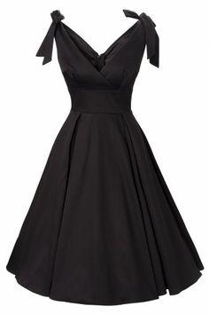 Neue Kollektion! Das50s Tie Me Up dress in Black sateenvon Deadly Damesby Micheline Pitt. Prächtiges Festkleid mit einem verführerischen Überschlagtop.  Die Schnürbänder an den Schultern macht das Kleid passend für jede Körbchen Größe. Das Top ist mit Stretch Charmeuse gefüttert für die perfekte Passform. Der volle Tellerrock ist vervollständigt mit Boxfalten für den ultimativen fifties Look und kann eve...