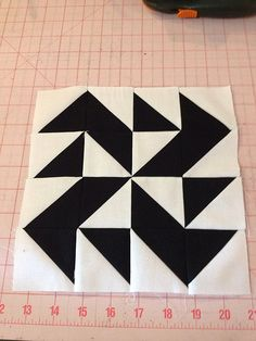 knit 'n lit: Modern Half-Square Triangle Quilt-a-Long Block 52
