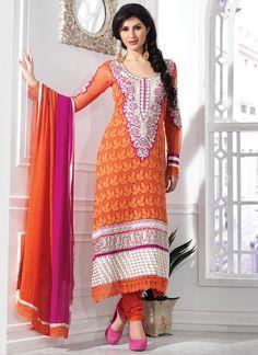 Wonder Orange Faux Georgette Designer Suit
