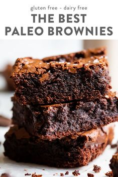 These paleo brownies are simply the best: they're fudgy and dense with a crunchy, crackly top and chewy edges. Not only that, they're quick and easy to make! Made with almond and coconut flour,. Paleo Brownies, Dairy Free Brownies, Coconut Flour Brownies, Almond Flour Desserts, Chocolate Gluten Free Desserts, Dairy Gluten Free Dessert, Gluten Free Zucchini Brownies, Banana Brownies, Easy Gluten Free Desserts