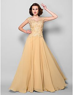 A-line Mother of the Bride Dress - Gold Sweep/Brush Train Sl... – USD $ 119.99