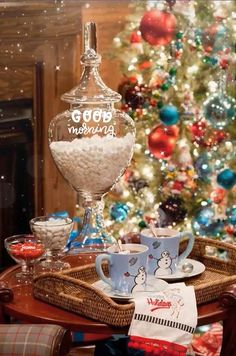 Use apothecary jars to store hot chocolate ingredients for late night hot chocolate for the guests Merry Christmas Gif, Merry Christmas Pictures, Christmas Scenery, Cozy Christmas, Christmas Music, Christmas Greetings, Vintage Christmas, Christmas Holidays, Christmas Decorations