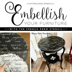 Stencils Can Transform Your Ordinary Furniture Into Fresh Finds Good morning, my Cutting Edge Stencils friends! Spruce up an old side table with a super quick paint and stencils makeover. Didn't know it was that easy?Rather than toss aside those old pieces of furniture consider giving them a
