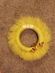 Mothers Day Yellow Tulle Wreath