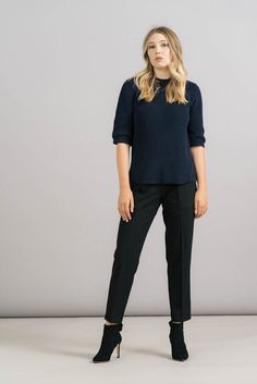 Achro Black Pull On Tailored Trousers
