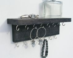 Necklace Holder Hanger Jewelry Organizer - Reclaimed Oak wood -  Handmade -  Wall Mounted