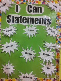 Assessment children can place their action word on the board of I can statements, once they have mastered a task. Physical Education Activities, Elementary Physical Education, Elementary Pe, Pe Activities, Health And Physical Education, Health Class, Science Education, Pe Bulletin Boards, Health Bulletin Boards