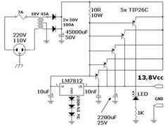 Power Supply 13 volts 45 amperes in 2019 Hobby Electronics, Electronics Projects, Power Supply Design, Battery Charger Circuit, Power Supply Circuit, Electronic Schematics, Electronic Engineering, Voltage Regulator, Circuit Diagram