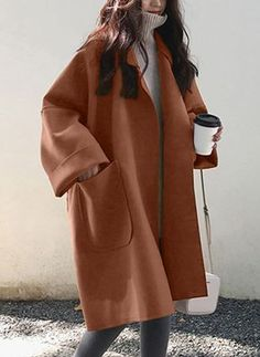 2019 Fall Winter Women Simple Cashmere look Maxi Long Robe Loose Coat Female Woolen Outerwear manteau femme abrigos mujer Winter Fashion Outfits, Look Fashion, Korean Fashion, Fall Outfits, Autumn Fashion, Fashion Tips, Fashion Trends, Womens Fashion, Korea Winter Fashion