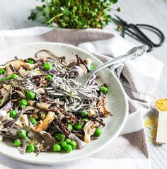 Black Bean Pasta with Exotic Mushrooms and Cream Sauce. Vegan, GF Recipe.