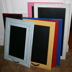 Cabinet door chalkboards.... — Beckwith's Treasures could also be frames or collage boards (for dining room wall redo)