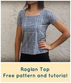 FREE SEWING PATTERN:  Raglan Top for Women
