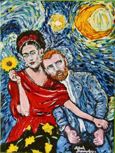 Van Gogh & Frida painting by Richard barrenechea in 11 x 14 mat included and ready to frame Gallery high quality giclee signed by the artist and limited edition Frida Paintings, Van Gogh Paintings, Vincent Van Gogh, Van Gogh Photo, Desenhos Van Gogh, Van Gogh Wallpaper, Van Gogh Arte, Frida Art, Art Van