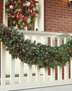 Set the outdoor holiday scene in an instant with pre-lit garlands and wreaths brimming with a mixture of greenery that's amazingly full and realistic.