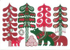bears three in forest green reds - Marimekko stationery