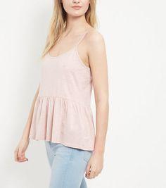 Mid Pink Peplum Cami  | New Look