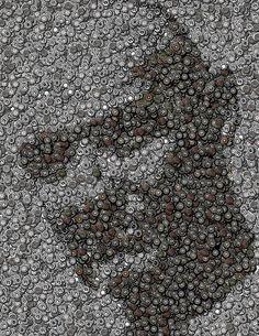 John Locke Dharma Button Mosaic Print by Paul Van Scott
