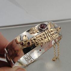 Hadar Handmade Unique Art Gold Silver Garnet Bracelet (b 77) either 14K gold filled or 24K gold plated on sterling