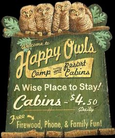 Click to find out more about Happy Owls Vintage Camp Sign