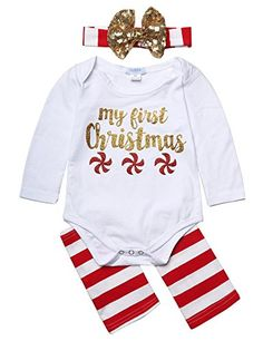2f489bd39 Arshiner Newborn Baby Girl Long Sleeve Christmas Romper and Socks with  Headband ** Check out
