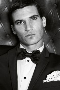 Perfect white and black polka dot pocket square to match with the classic black bow tie