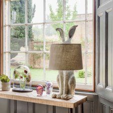 Our Hetty Hare Table Lamp promises to create a focal point with her intrigued ears and proud stature. Made from a distressed white resin base with a light grey shade. Explore more Animal Lights. Table Diy, Table Lamps, Green Table Lamp, Diy Lamps, Bunny Lamp, Animal Lamp, Best Desk Lamp, Room Lamp, Lamp Design