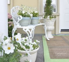Planter by door. Love this front porch