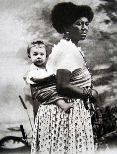 Studio portrait of wet nurse/nanny & child, Salvador,1880s. From an academic study of the fascinating history of studio photography of white children and black nannies in the last decades of the C19. A utilitarian sling like this would never have been used in a portrait of the same child and his or her mother. The pictorial as well as the real relationship is radically different. http://www.studium.iar.unicamp.br/africanidades/koutsoukos/4.html  Please retain context if repinning