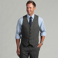 Kenneth Cole Reaction Men's Slim Fit Black and White Suit Separate Vest | Overstock.com