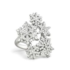 """Paul Morelli """"Snowfall"""" Diamond Ring """"Snowfall"""" diamond cocktail ring in 18k white gold. Diamonds weighing 1.19 total carats. 30mm at widest point. Handcrafted in Philadelphia. Designed by Paul Morelli."""
